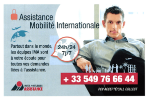 Exemple de la carte d'assistance IMA (recto)
