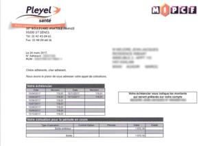 Exemple d'échéancier de Pleyel Santé